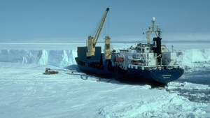 Research vessel deploying instruments on an Antarctic ice shelf (Pic: Jonathan L. Bamber/Science)