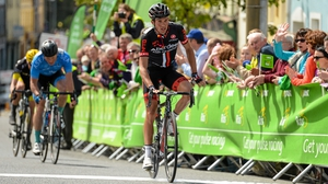 Ian Bibby crosses the line to win stage six
