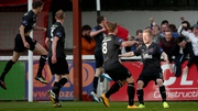 Daryl Horgan celebrates his opener with his Dundalk team-mates