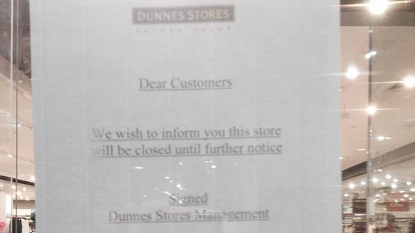 A notice in the window of the branch in Gorey Shopping Centre