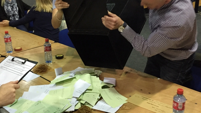Boxes opened in the RDS count centre in Dublin