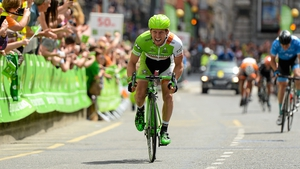 Andreas Mueller crosses the line to win Stage 7 in Drogheda