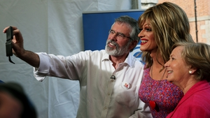 Gerry Adams, Panti and Frances Fitzgerald take a selfie at Dublin Castle