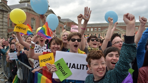 Yes campaigners celebrate the result of the marriage referendum