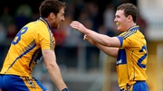 Clare's Gary Brennan celebrates with Davy O'Halloran at the final whistle