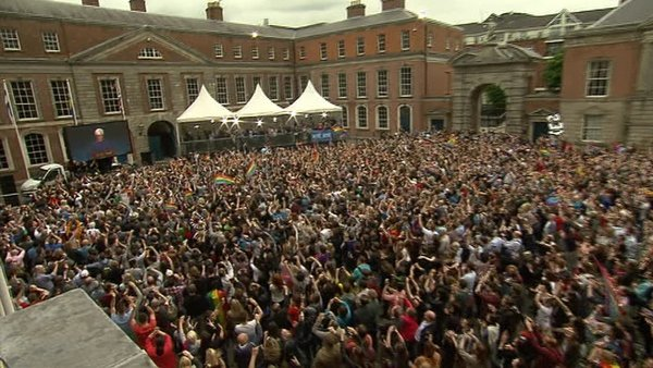 Thousands gather in Dublin Castle to hear the declaration of the same-sex marriage referendum