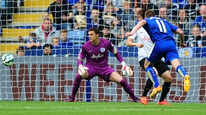 Marc Albrighton of Leicester City scores his team's second goal