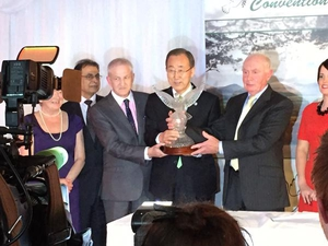 Ban Ki-Moon was speaking after receiving the Tipperary International Peace Award in Co Tipperary this evening