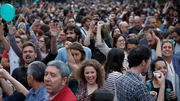 In Madrid supporters of protest grouping Ahora Madrid celebrated as the group tied with Spain's governing Popular Party