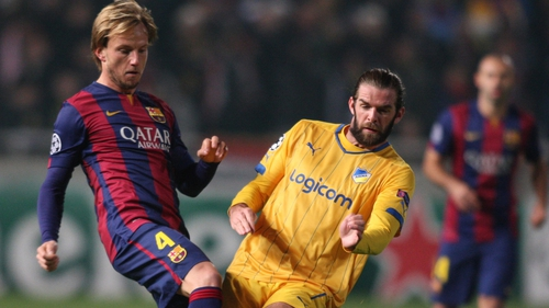 Cillian Sheridan in action against Barcelona in the Champions League last November