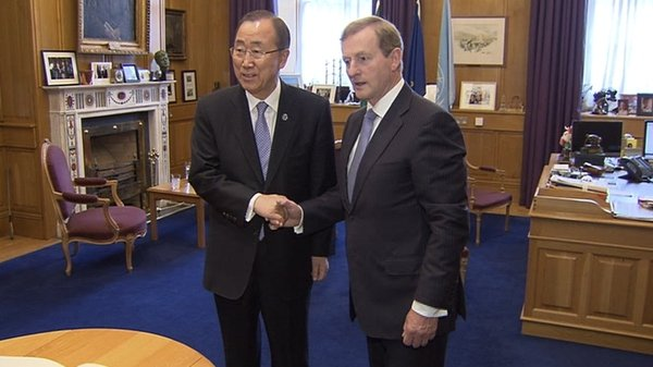 Ban Ki-moon met Enda Kenny this morning