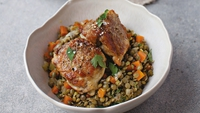 Crispy Chicken Thighs with Braised Puy Lentils - This is a great winter warmer that you can have on the table in no time at all.