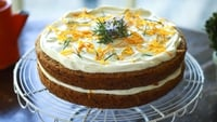 Carrot & Courgette Cake with Rosemary & Orange Crème Fraiche  - Carrot, courgette and cardamom are a wonderful combination of flavours. The cake itself is moist enough but for that extra special touch you can add the delicious rosemary & orange crème fraiche. If you want to go all out, you can make mini carrots and courgettes out of marzipan with a little orange and green food colouring and angelica root for the stalks. This cake will keep in the fridge for 3–5 days.