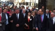 Bobby Aylward was flanked by supporters as he arrived at Leinster House