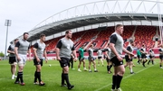 Lee Nicholas, Colm O'Shea, Michael Bent and Tadhg Furlong train ahead of Ireland's game against the Barbarians