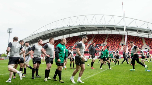 The Ireland squad train at Thomond Park ahead of their clash with the Baa-Baas