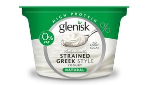Glenisk Authentically Strained Greek Yogurt Natural 150g tub, €1.29