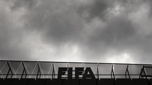 A FIFA logo is seen at the top of its headquarters in Zurich on Wednesday
