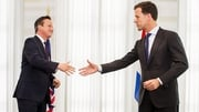 PMof the Netherlands Mark Rutte (R) welcomes David Cameron to his official residence Catshuis in The Hague