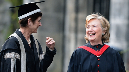 Prof Louise Richardson with Hillary Clinton in St Andrews in 2013