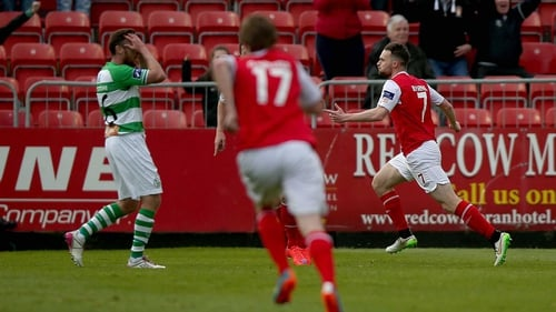 Conan Byrne celebrates after opening the scoring for St Pat's