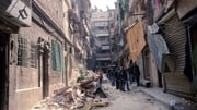 Streets in the al-Sulaimaniyah neighborhoods of Aleppo following rocket attacks in April on this year