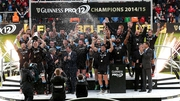 Glasgow celebrate as they became the first Scottish side to win the league