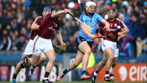 Dublin's Liam Rushe under pressure from Aidan Harte of Galway in Sunday's drawn game at Croke Park