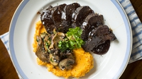 Glazed Spiced Venison with Forest Mushrooms and Sweet Potato Mash - The delicate flavour of the venison is complemented by the gutsy sweet potato mash and sauté of wild mushrooms. Most supermarkets now stock a decent range including chanterelle, oyster, chestnut and if you're very lucky ceps (porcini) if they're in season.