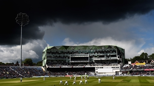 Storm clouds gather over Headingly during the Test match between England and New Zealand in Leeds