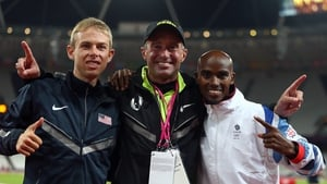 Mo Farah (R) and Galen Rupp (L) with Alberto Salazar after the Men's 10,000m Final at London 2012