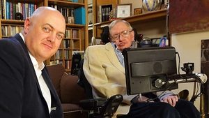 A still from the BBC documentary Dara Ó Briain Meets Stephen Hawking