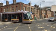 Traffic restrictions as track laying for Luas Cross City route begins