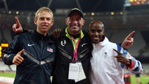 Alberto Salazar (centre) and Mo Farah (right) will continue to work together