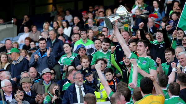 Fermanagh's John Paul McGarry lifts The Lory Meagher Cup