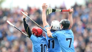 Dublin's Ryan O'Dwyer, Liam Rushe and Shane Durkin contest a high ball - apparently with each other - during their Leinster SHC quarter-final