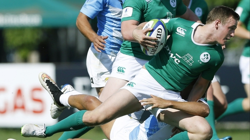 Nick McCarthy is tackled during the Argentina match
