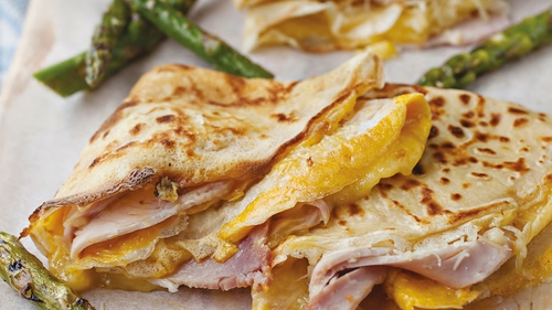 Neven Maguire's Ham, Cheese and Egg Crêpes with Griddled Asparagus