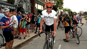 Lance Armstrong at the start of the third day of the RAGBRAI en route to West Des Moines in July 2013