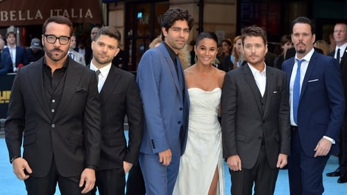L-R - Entourage stars Jeremy Piven, Jerry Ferrara, Adrian Grenier, Emmanuelle Chriqui, Kevin Connolly and Kevin Dillon at the European premiere in London