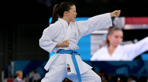 Karen Dolphin in action in the kata competition of the karate event