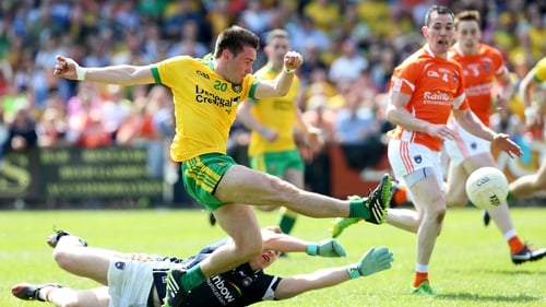 Donegal's Martin O'Reilly scores their second goal past Armagh goalkeeper Mathew McNeice
