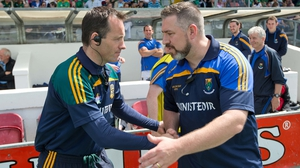 Meath manager Mick O'Dowd shakes hands with Wicklow manager Johnny McGee
