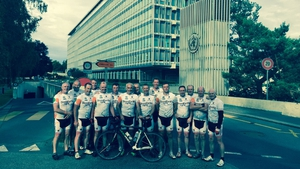 The cyclists achieved their aim of arriving at the WHO headquarters  on World Blood Donor Day, 14 June