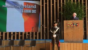 President Michael D Higgins delivered an address to mark Irish National Day
