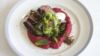 Middle Eastern Spiced Beef and Pickled Cucumber Mint Salad with Beetroot Hummus    - Use the best dry aged steaks you can afford and make sure you give them plenty of time to rest before serving them to allow all the juices to settle.