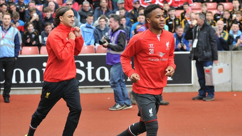 Raheem Sterling (right) runs out against Stoke on the final day of the season, potentially his last Premiership match for Liverpool