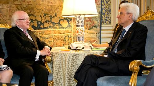 President Michael D Higgins and Sergio Mattarella met today