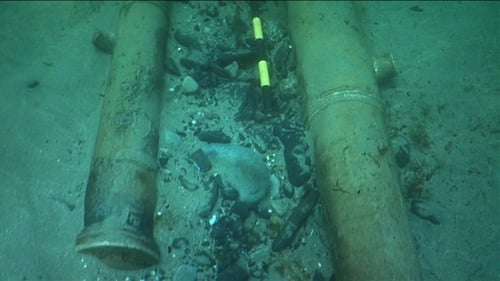 Relics from a merchant vessel were found on the seabed after timbers from the exposed wreck began washing ashore in April