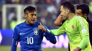 Neymar saw red after the final whistle of the defeat to Colombia